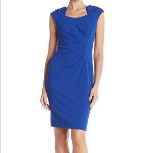 Calvin Klein Horseshoe Neck Blue Ruched Dress 12